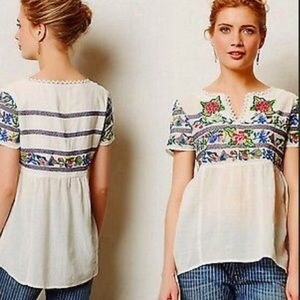 MY FAVORITE EMBROIDERED TOP ANTHROPOLOGIE RARE